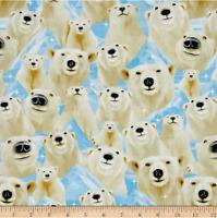 Selfie Polar Bear Michael Timeless Treasures 100% cotton fabric by the yard