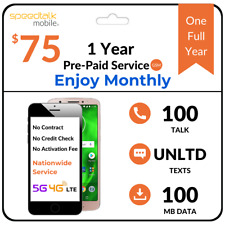 SpeedTalk Prepaid Sim Card - No Contract 12 Months Unlimited Text Phone Plan