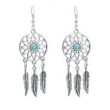 Vintage acchiappasogni argento antico girasole e foglia orecchini pendenti