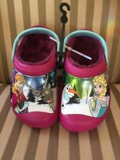 New Crocs Girls Sz 3 Junior Disney Flozen lined Clog Berry roomy fit