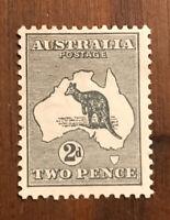 AUSTRALIA , 1913 , KANGAROO ,  NO. 3 , 2p STAMP , PERF , H OG M CV $70