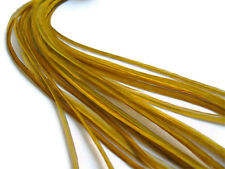 Hair Feathers   Thin Long Solid Rooster & Silicon Bead - 1, Antique Gold
