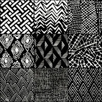LUNN FABRICS BATIK BLACK & WHITE LINES 9 FAT QUARTERS BUNDLE FAT QUARTER