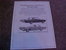 1966 Dodge Polara/Monaco factory cost/dealer sticker prices for car & options $$