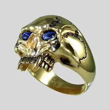 Vampire 14K Yellow Gold Skull Sapphire Biker Ring Harley Size 12 by UNIQABLE