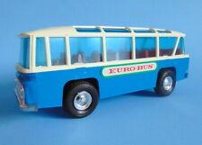 "Vintage blue white with chrome parts 8"" long plastic EURO BUS coach by PN"