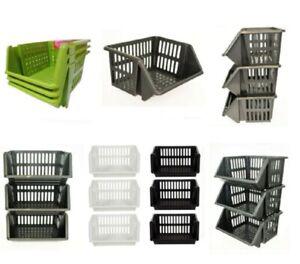 Vegetable Storage Basket Plastic Stackable Kitchen Fruit Stacker Stacking Rack