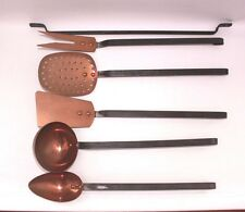 Set 5 copper kitchen tools and rack  French Iron handles Cooking Country VTG B40