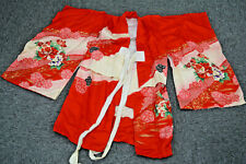 Vintage Japanese Traditional Kimono for Kids Child Red Cloth Textiles Kyoto
