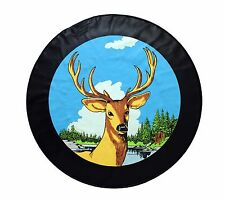 """15"""" SPARE TIRE COVER DEER BLACK HEAVY DUTY VINYL TIRE COVER"""