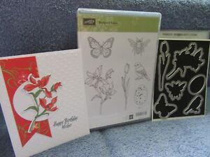 stampin up BACKYARD BASICS & FRAMELITS DIES-bird-butterfly-bee-egg-lot + card