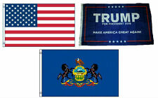 3x5 Trump #1 & Usa American & State of Pennsylvania Wholesale Set Flag 3'x5'