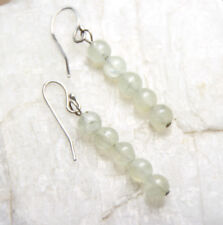 Prehnite Natural Green Gemstone 5mm Ball Earrings 925 Sterling Silver Hooks