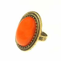 Fashion Women Lady Retro Alloy GOLD Adjustable Ring S Style Big oval Black stone