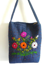 "Handmade Handbag Padded Fabric Blue Embroidery/Beading Trim 13""x11""x4"""