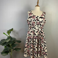 Timeless By Vannessa Tong Size 14 Fit And Flare Rose Print Midi Dress Round Neck