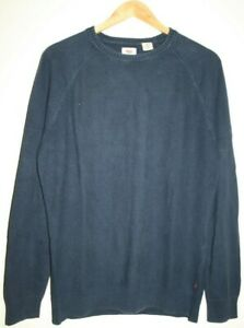 Levi's Men's Casual Blue 100% Cotton Long Sleeve Knitted Jumper Pullover Size M