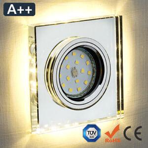 Einbaustrahler Glas Klar Schwarz Quadratisch Decko licht LED SMD GU10 MR16 230V