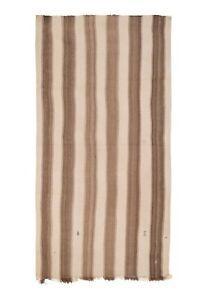 "Brown Striped Turkish Hemp Kilim Rug 5'10"" X 11'3"""