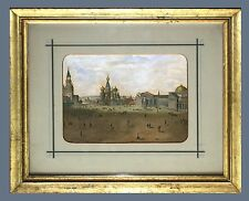 RED SQUARE MOSCOW, RUSSIA & ORIGINAL ca1820 HAND- COLORED LITHOGRAPH, FRAMED