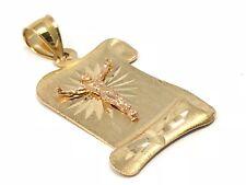 14k Two Tone Gold Diamond Cut Jesus Christ Crucifix Scroll Charm Pendant 5.4g