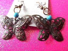 Copper Turquoise Butterfly Dangle Earrings