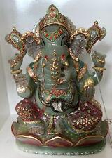 4.200 Kilo Indian Jade Gemstone Sculpture Hand Craft Huge Lord Ganesha 10 Inches