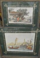 """PAIR OF ANTIQUE HANDCOLORED ENGRAVING PRINT T. ALLOM CHINA 29"""" BEAUTIFULLY FRAME"""