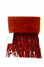 Karen Millen Tan Cross Body Fringe Suede Leather Shoulder Chain Clutch Bag New