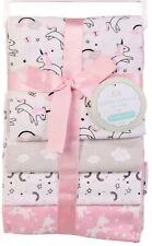 RECEIVING X4 - PETITE GIRLS - UNICORN RAINBOW PINK - BLANKETS COTTON 4 PACK BABY