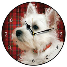 Cute Tartan Westie Round Wall Clock with Integral Hanger