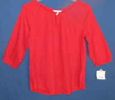 Croft & Barrow Women's M Tango Red 3/4 Sleeves Peasant Top New Tags
