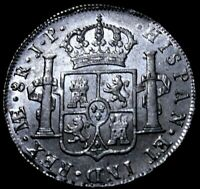 Peru: 1808 Spanish Colonial 8 REal of Peru Almost UNC condition.  53-224