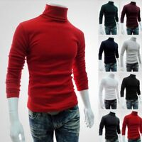 Men Long Sleeve Pullover High Neck Turtleneck Stretch Slim Basic T Shirt Tee Top