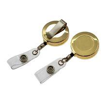 Blank Gold Retractable ID Badge Card Holder Pull Reel Belt Clip Lanyard
