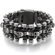 MENDINO Men's 250mm Adjustable Skull H-shaped Leather Stainless Steel Bracelet