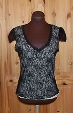 £1 MAX  black cream ivory lace short sleeve tunic tshirt top 12 40