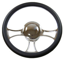 "14"" Billet Chrome Independent Steering Wheel with Leather, adapter, horn Button"