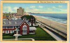 VENTNOR CITY, New Jersey  NJ   View from VENTNOR PIER  c1940s Linen  Postcard