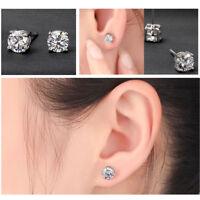 0.80 CT 4.5 mm Round Brilliant Moissanite 4 Prong Stud Earring 14k White Gold GP