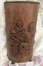 Antique Umbrella Stand Brass Embossed Relief Colonial Scene