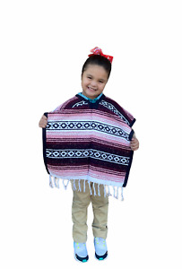 MEXICAN KIDS PONCHO , FALSA , COSTUME ,BLANKET SERAPE GABAN  ,KIDS 5 - 9 , PINK