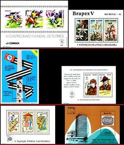 BRAZIL 1982 ALL SOUVENIR SHEETS OF THE YEAR, SC# 1789~1840 SV $36.00, ALL MNH