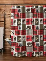 "WILDLIFE LODGE LIFE 72"" SHOWER CURTAIN HOOKS BLACK BEAR MOOSE RED BUFFALO CHECK"