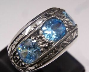 Aquamarine Stone Turkish Jewelry 925 Sterling Silver Mens Mans Ring  ALL SİZE&1