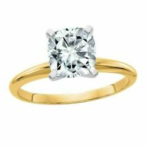 Moissanite Cushion-Cut Solitaire Ring New listing 14K Gold 2ct