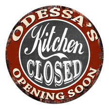 CWKC-0767 ODESSA'S KITCHEN CLOSED Chic Tin Sign Decor Mother's day Gift