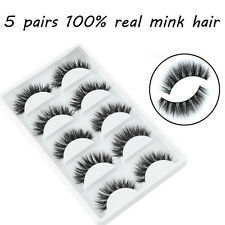 5 Pairs Black Mink Natural Thick False Eyelashes Eye Lashes Makeup Extension Hot