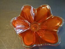 Tangerine art glass -candy dish