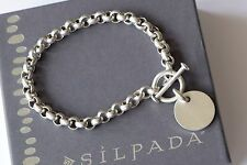 Silpada Sterling Silver Rolo Link Bracelet Engraveable Disc Charm B0481
